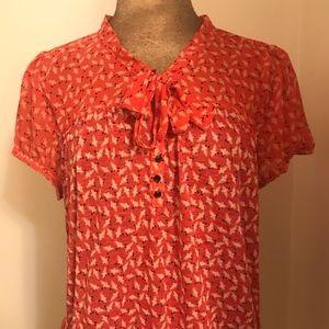 Ann Taylor LOFT Dark Peach Top with Bird Print